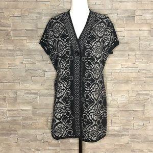 Style & Co. black and grey damask sleeveless tunic